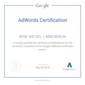 MBD.berlin - Rene Wetzel Google AdWords Certification