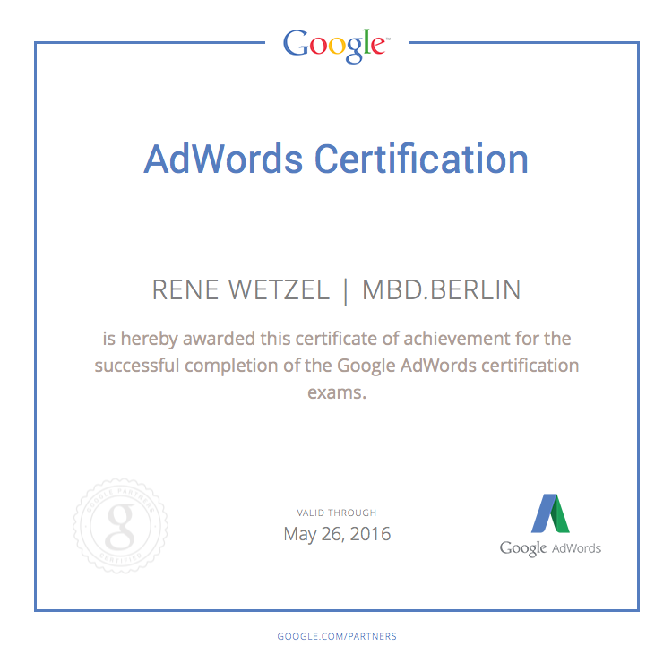 MBD.berlin - Rene Wetzel Google AdWords Certification