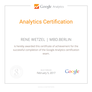 MBD.berlin - Rene Wetzel Google Analytics Certification