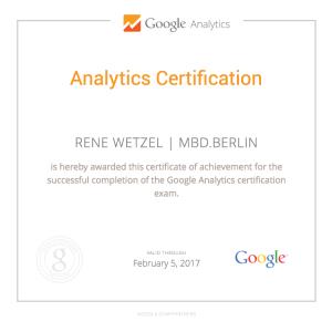 MBD.berlin - Rene Wetzel Google Analytics Certification